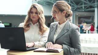 business women working together on a laptop. girl in a business suit and her boss