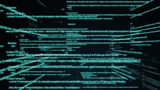 Computer code running in a virtual space. camera moves through the text. Abstract technology programming code. Computer scriptor or software concept. illustration of business processes, technology
