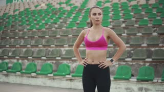 portrait of a girl athlete at the stadium