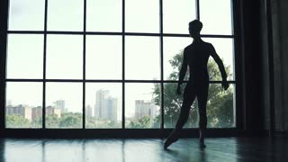 silhouette of a ballet dancer male. young man dancing classic ballet on the background of a large window. slow motion