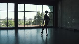 silhouette of a ballet dancer on a window background. man elegantly and beautifully dances classical ballet in the studio. slow motion