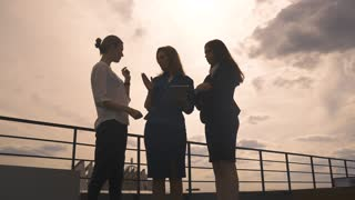Silhouettes of a group of businessmen women against the sky and clouds. Girls in business clothes at a meeting.