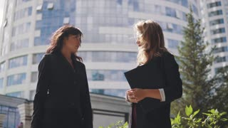 silhouettes of businessmen on the background of the business center. two business women talking face to face outdoor