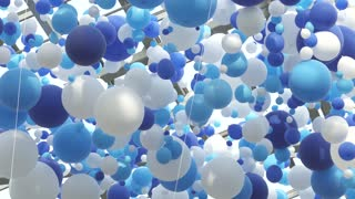 White and blue balloons in the air