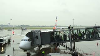 Airport. Boarding passengers.
