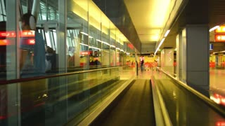 Airport. Moving walkways