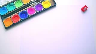 Art background. Paint, pencils