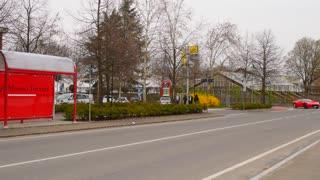 Automobile Ferrari on the street of Maranello