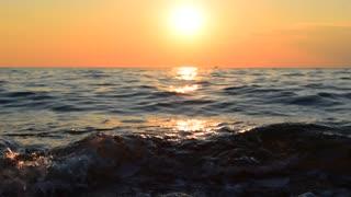 Beach sea sunset background.