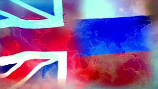 British and Russian flags.