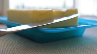 Butter and knife closeup