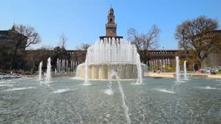 CASTELLO SFORZESCO, MILAN, ITALY: Fountain on the square of Milan castle