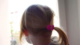 Child looks the window