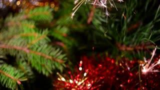 Christmas background, sparkler