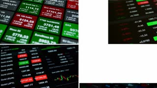 "Collage ""Stock exchange"", 4K stock footage."
