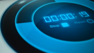 Digital clock, timer 15 seconds. Blue timer background. Digital stopwatch