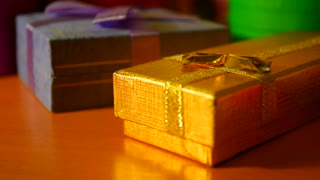 Gift boxes closeup