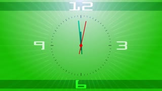 Green clock face.