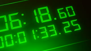 Green digital timer. Digital numbers