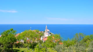 Green garden at background of old mediterranean town. Panoramic view of old city Piran, Slovenia.