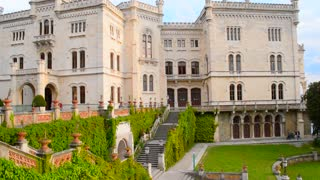 Green garden of Miramare palace in the Trieste, Italy.