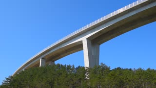 Highway bridge. Beton construction of the road bridge. European road infrastructure in Slovenia.
