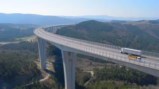 Highway road bridge, trucks