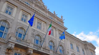 European, Italy Flags.