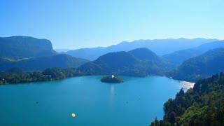 Landscape aerial, Lake Bled, Slovenia