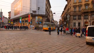 People on Crossroad, Milan, Italy