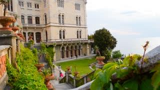 Miramare castle in the Trieste, Italy. Green garden of Miramare palace.