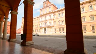 MODENA, ITALY: Square of Rome, view from arch gallery, Roman architecture of Modena
