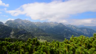 Panoramic mountains landscape dolly right