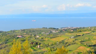 Panoramic nature landscape. Green hill and sea on the background. Nature background for relax and spa theme. Landscape of Istria, Adriatic sea coast, Slovenia