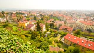 Panoramic view on the city Bergamo, Italy. Aerial view of Bergamo.