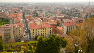 Panoramic view on the city Bergamo, Italy. Aerial view of Bergamo.