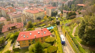 Panoramic view on the city Bergamo, Italy. The funicular, cable car. Aerial view of Bergamo.
