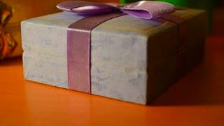 Present, gift box closeup