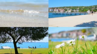 Resort, vacation on the sea, tourism collage. 4K set.