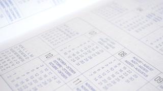 Sheet of diary closeup