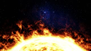 Solar energy. Burning sun. Animated video background
