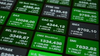 European index. Stock market board