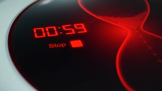 The timer for 1 minute. Digital timer, counting down 60 seconds. Red electronic timer with hourglass. Digital stopwatch