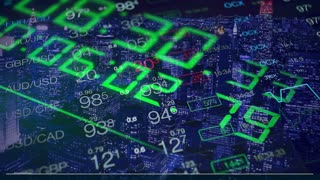 """Time is money"", concept stock video. Business collage with digital clock, numbers, chart and city background. Collage symbolizing time, money and business. Business blue and green abstract background."