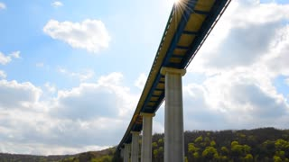 Under bridge, bridge construction. Viaduct highway in the Croatia.