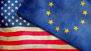 US and EU flags together