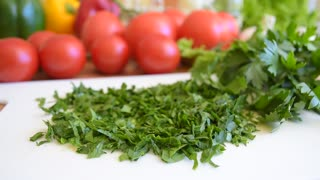 Vegetables, chopped green parsley