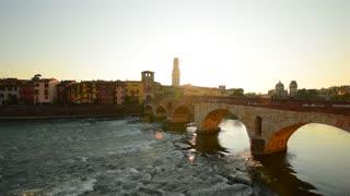 VERONA, ITALY: View on the bridge Ponte Nuovo in the Verona. Italy, Veneto.
