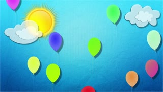Balloons, clouds, sun. Baby cartoon background