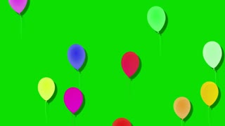 Balloons flying, Green Screen Background